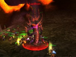 Good view of Lucifron, first boss of the Molten Core, the first raid instance of WoW