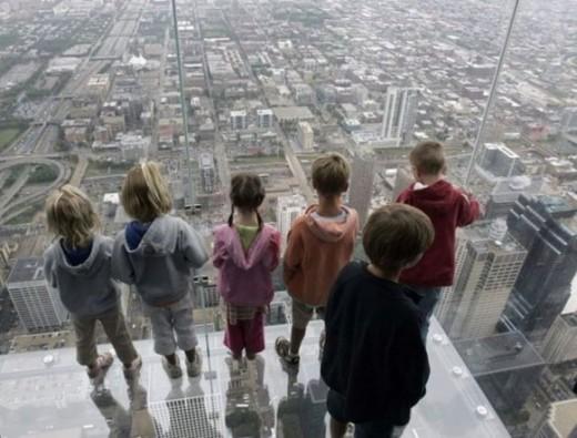All glass balcony on 103rd floor