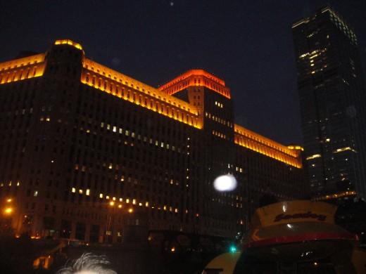 Photo taken on architectural boat tour at night