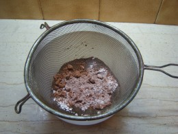 5. Sieve the cocoa powder, plain flour, salt and instant coffee together.