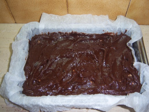 12. Put the finished brownie mixture into your tin and pop into a pre heated oven.