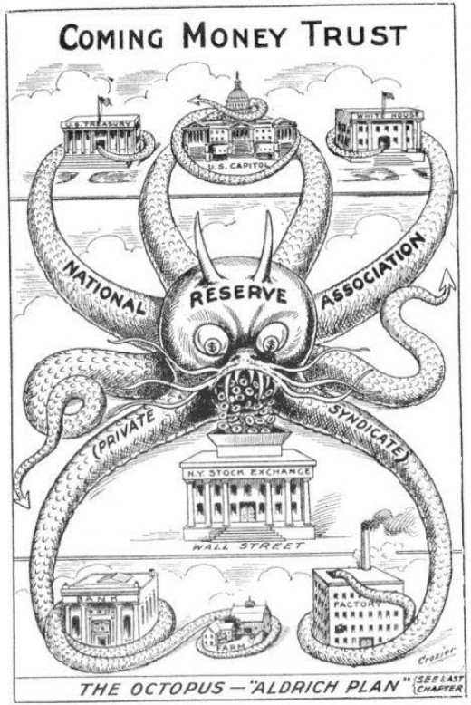 This is a political ad from 1912...During a time when the Federal Reserve was being discussed but BEFORE the FEDERAL RESERVE was created. I think they pretty much nailed it on the head