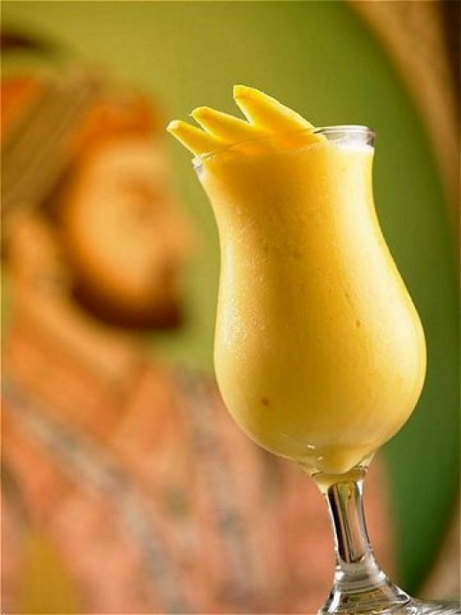 Make your own fresh home made mango lassi drink!