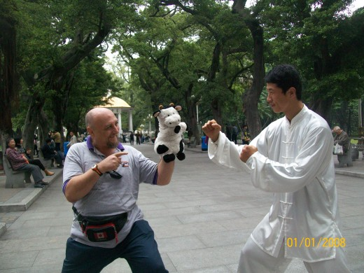 When Moo Moo and I were in a park in Guangzou China we saw this grand master giving a class.We asked if he would have his picture taken with Moo Moo. He laughed and said he would be very happy to