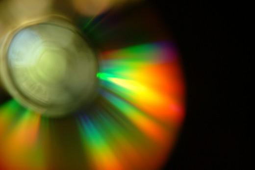Rainbow Lights on CD surface
