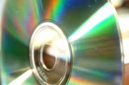 SIlver CD with bright reflections