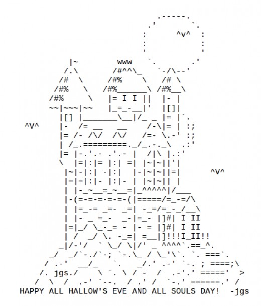 One Line Ascii Art Holidays : Haunted houses in ascii text art for halloween hubpages