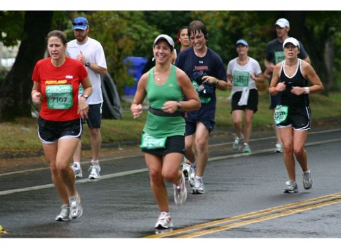 Steph at approximately mile 18 of the Portland Marathon