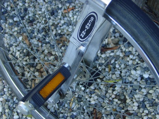 Pedals had reflectors built-in, a new law for riding at night so cars could see you!