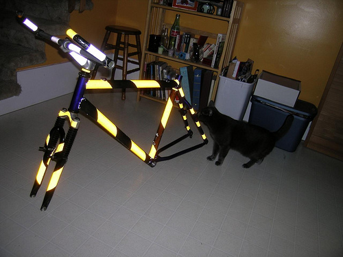 Reflective tape can help people see you on your bike in winter. Just don't go too overboard!