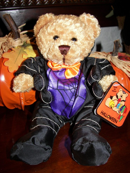 Spider Bear in Purple Silk - See the Six Arms? Perfect Bear for Halloween Decorations