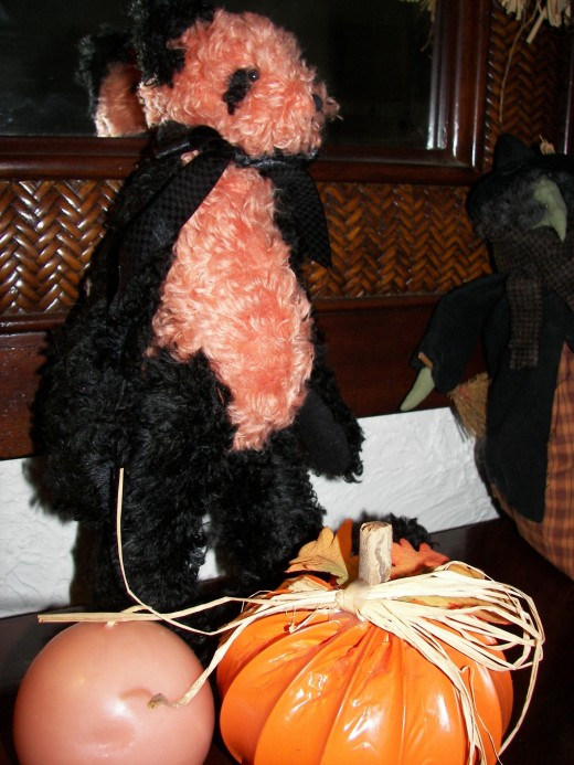 Orange and Black Fluffy Bear Perfect for Halloween Decorations