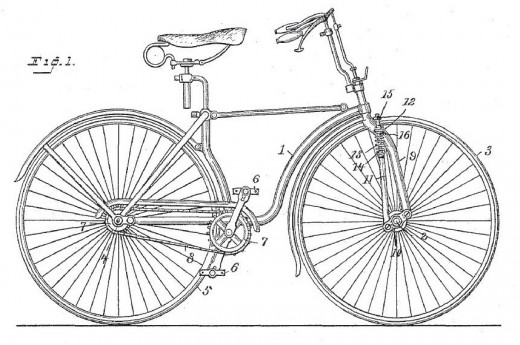 A patent drawing from 1891. This is the drawing I used to do the cad drawing with the mountain bike.