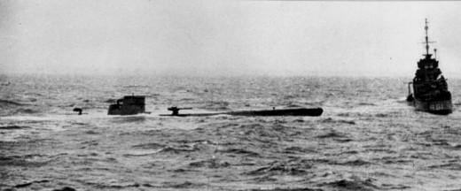 The HMS Bulldog (right) capturing a German U-Boat in 1941.