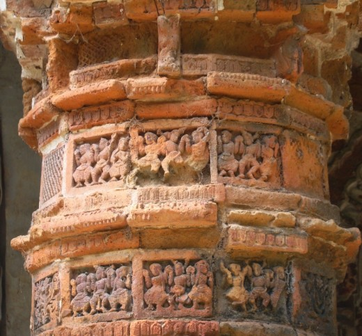 Terracotta of Raj Rajeswari temple : A decorated pillar