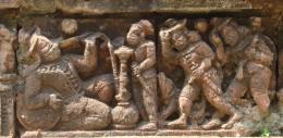 Terracotta of Raj Rajeswari temple : A Noble man smoking FARSHI