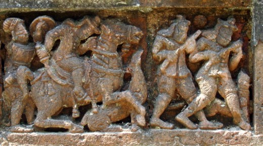 Terracotta of Raj Rajeswari temple :Hunting scene