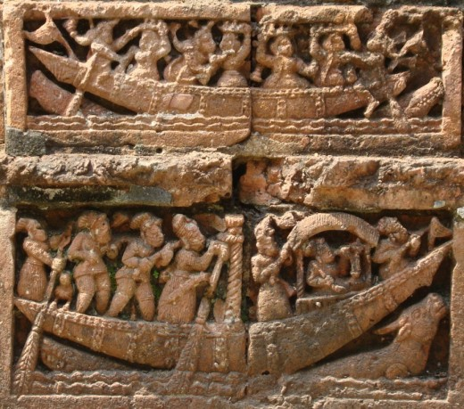Terracotta of Raj Rajeswari temple :Boat ride 4