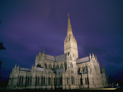 A View of Salisbury Cathedral at Night