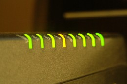 Glowing Yellow and Green indicator LED lights up close