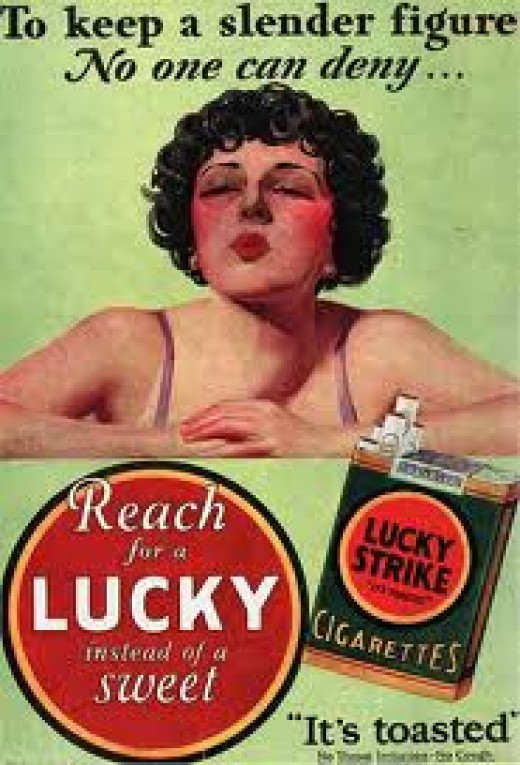 A PRETTY GIRL ALWAYS GETS A WOULD-BE SMOKER'S ATTENTION, SO LUCKY STRIKE USED THIS PRETTY GIRL TO LURE YOUNG AND OLD MEN INTO THE DANGEROUS GAME OF SMOKING.