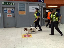Police with dogs at Waterloo station