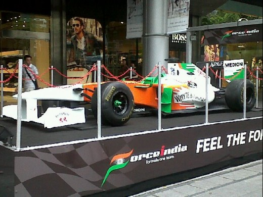 Racing car displayed on Orchard Road.