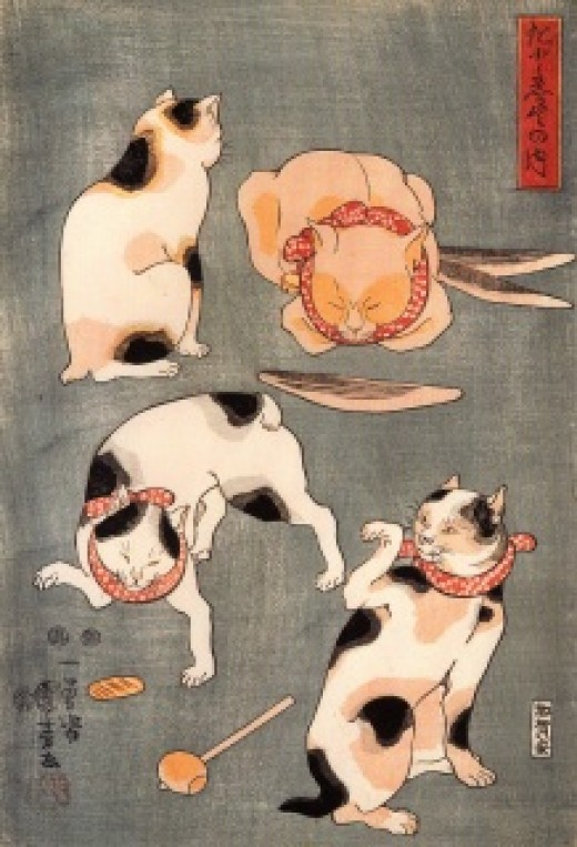"""For Cats in Different Poses"" by Utagawa Kuniyoshi (1798-1861). Note the red collar and bell, which were worn by cats during the Edo period in Japan."