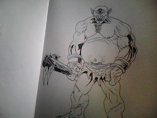 A Cyclops Creature drawing Copyright Wayne Tully 2011.