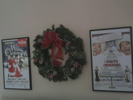 framed movie posters of my favorite holiday movie White Christmas hung up on the wall.  A simple decoration.