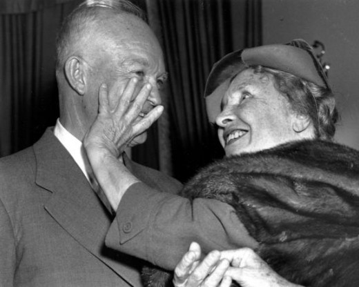 Helen meeting President Eisenhower. The President smiled out of nervousness, and Helen accidentally put her fingers in his mouth when feeling his face.