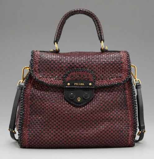 Fall 2011 handbags are also big on texture--here--a satchel with bicolor tightly woven leather.