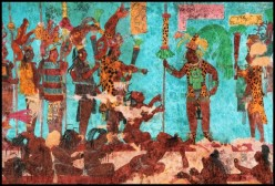 Warriors with captives from a raiding party, from the murals at Bonampak, Chiapas, Mexico.