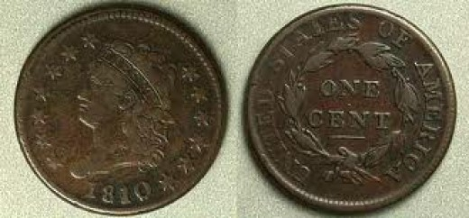 This is the 1810 large cent. The design is the Classic Head