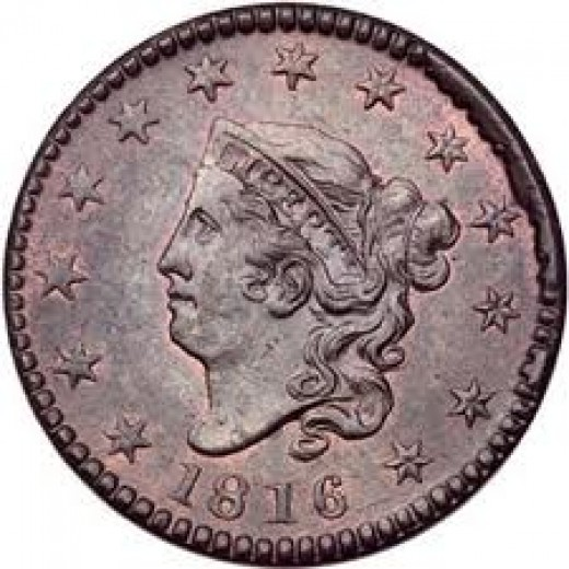 This is the 1816 large cent. The design is the Coronet Head.