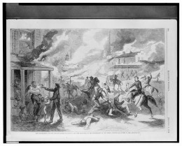 The destruction of the city of Lawrence, Kansas, and the massacre of its inhabitants by the Rebel guerrillas, August 21, 1863  - Illus. in: Harper's weekly, v. 7, no. 349 (1863 September 5), p. 564.