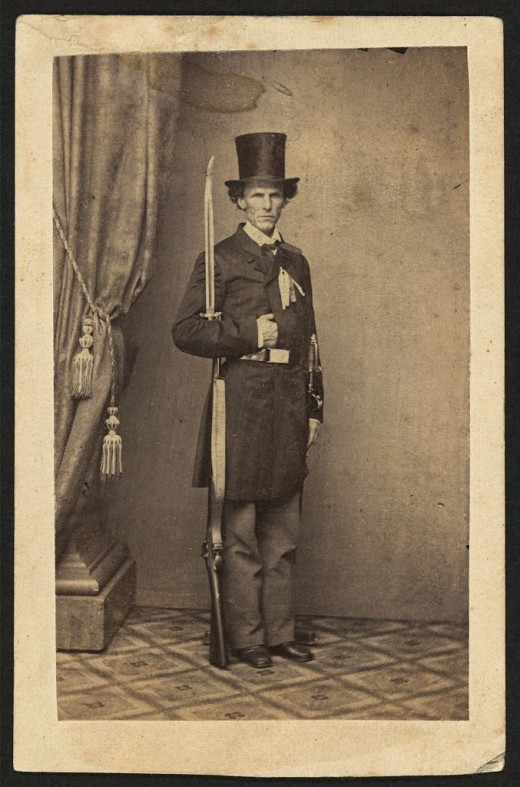 James Henry Lane (1814-1866), politician and leader of the Free State Party of Kansas, full-length portrait, with gun