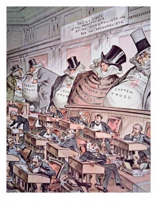 Anti-trust Cartoon Depicting Giant Corporations as 'the bosses of the Senate', 1889