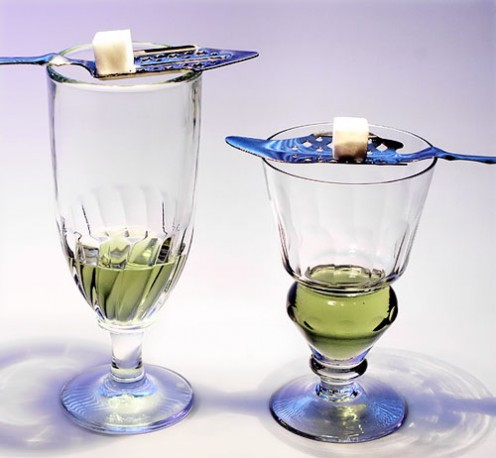Two absinthe glasses. Left, Swirl glass. Right Pontarlier reservoir glass.