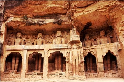 Jain idols inside Gwalior Fort