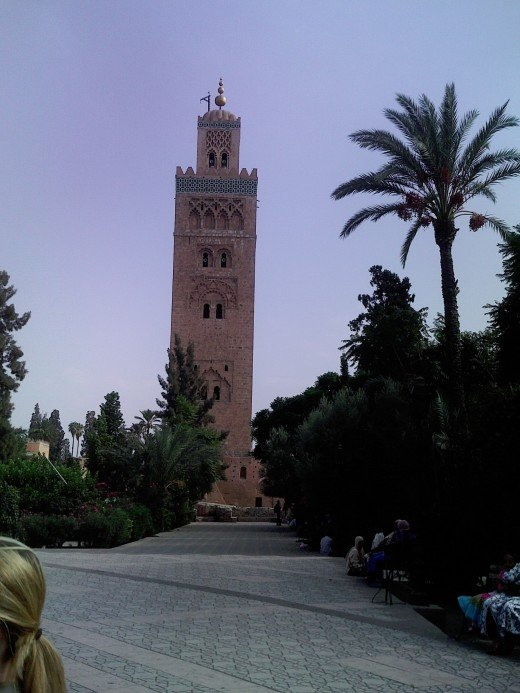 Koutoubia Mosque, Marrakech as viewed from Djemaa el-Fna. Use it as your city guide to keep your bearings as you're never far way.