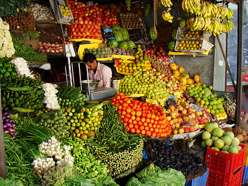 Indian fruit and vegetable market.