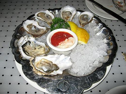Raw Oysters On The Half Shell. Notice The Cup Of Half Cocktail Sauce , Half Tartar Sauce For Dipping The Raw Oysters In.