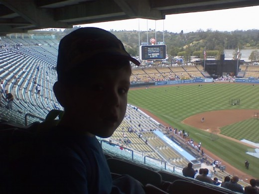 A Young Baseball Fan at Dodger Stadium