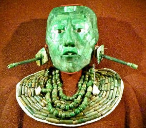 Jadeite mask of the Mayan King Pacal Votan of Palenque