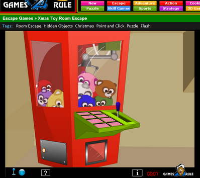 When you click on the Arcade Grabber you see a close up of it with the panel where you will need to put in the correct color code and click on the handle to make the claw grab one of the clues for you.