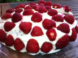 Traditional Midsummer cake with cream and strawberries!