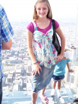 My oldest daughter standing on clear sky deck:)