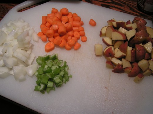 Chopped Onions, Celery, Carrots and Potatoes