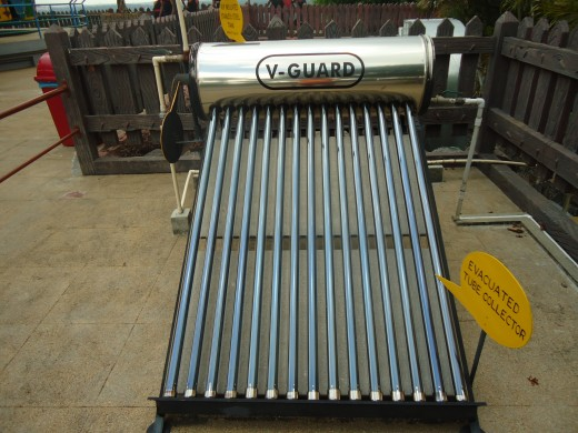 Example of a roof mounted evacuated tube solar hot water heater system.